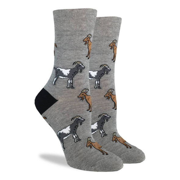 Good Luck Sock Adult Shoe Size 5-9 Goats Crew Sox Funny Farm Animal Men Women New
