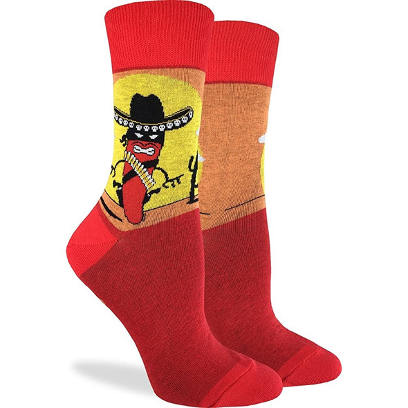Good Luck Sock Adult Shoe Size 5-9 Hot Chilli Standoff Crew Sox Men Women Fiesta