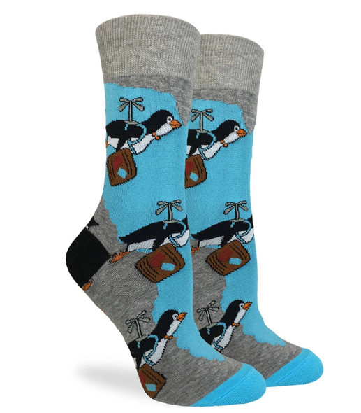 Good Luck Sock Adult Shoe Size 5-9 Travelling Penguin Crew Sox Animal Men Women