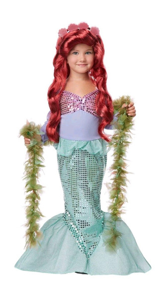 Pretty Little Mermaid Girls Halloween Costume Dress Siren Princess Child XS-LG