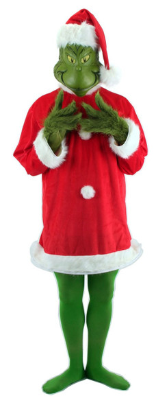 Deluxe How the Grinch Stole Christmas Costume Dr. Seuss Adult Plus Size xxl Mask
