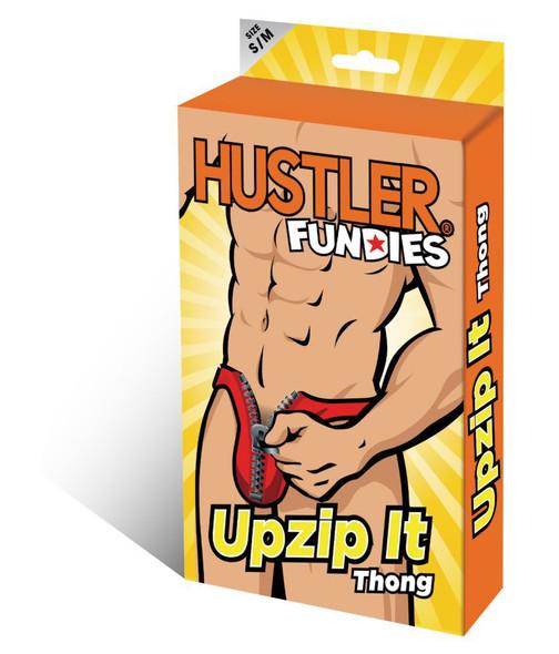 Hustler Fundies Men's Sexy Red Upzip It Thong Underwear Zipper Undies S/M