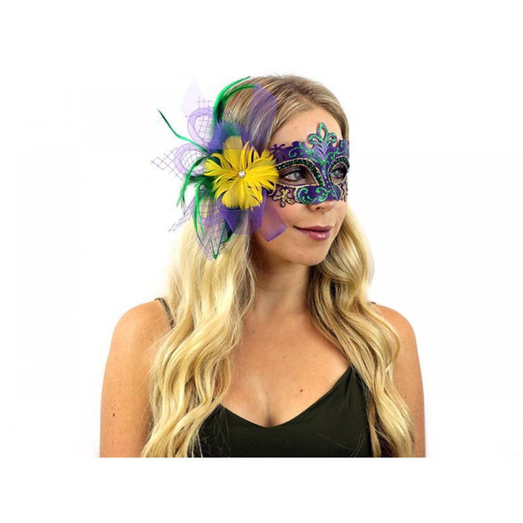 Mardi Gras Venetian Eye Mask Feathers Laser Cut Masquerade Costume Accessory