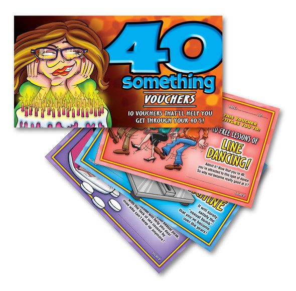 40 Something Vouchers For Her 40th Birthday Joke Gag Gift 10 Funny Coupons