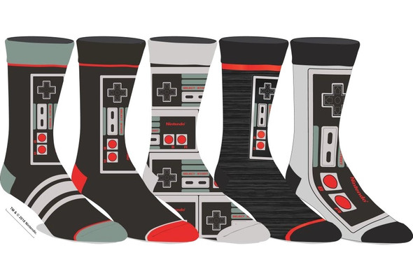Nintendo Remote Controller Casual Crew Socks Gift Set Adult Men NES 5 Pairs