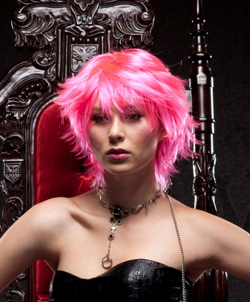 Deluxe Blush Jinx Fantasy Style Short Adult Costume Wig Shag Choppy Bright Pink