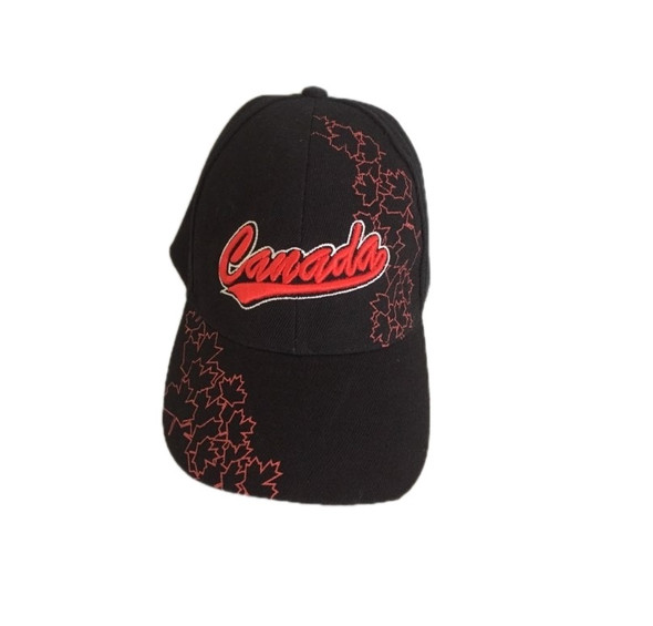 Black Baseball Cap with Red Embroidered Canada Adult Adjustable Velcro Maple Leaf