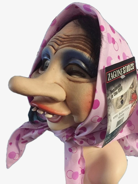 Zagone Goofy Mrs. Bashfool Mask Kerchief Black Hair Halloween Costume Accessory