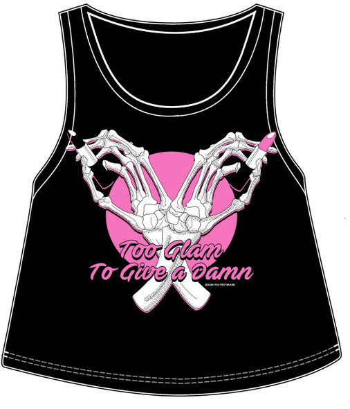 Too Glam To Give a Damn Sidewayz Crop Racerback Tank Top Ladies Black Pink MED