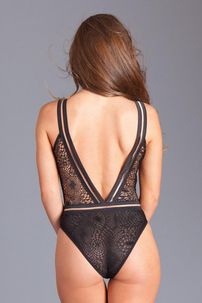 Be Wicked Sexy Black Lace Plunge Neckline Sheer Mesh Teddy Lingerie Women's MD