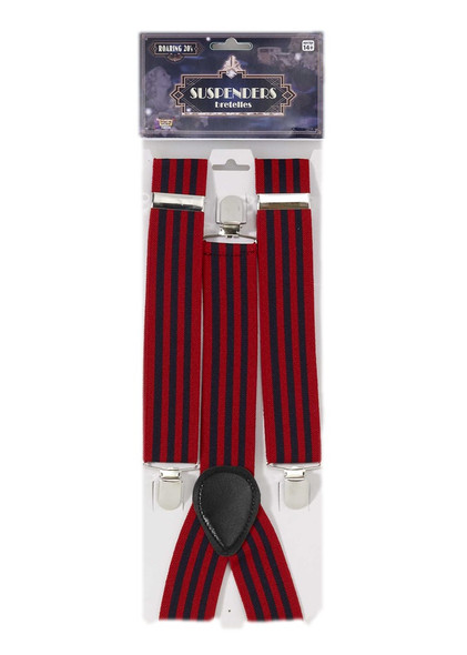 Roaring 20's Red & Navy Striped Suspenders Adult Mens Costume Accessory