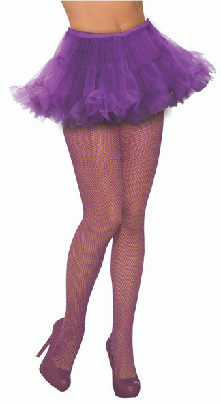Purple Glittery Fishnet Stocking Tights Women's Costume Accessory One Size