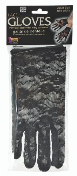 Short Black Lace Gloves 1980s Retro Womens Halloween Costume Accessory
