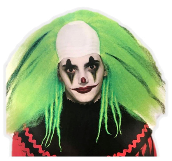 Fluffy Green Evil Clown Adult Costume Wig Halloween Accessory Messy Hair