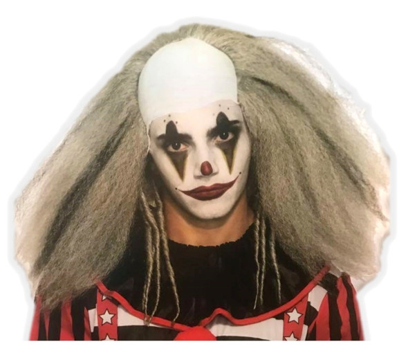 Fuzzy Grey Evil Clown Adult Costume Wig Halloween Accessory Messy Hair