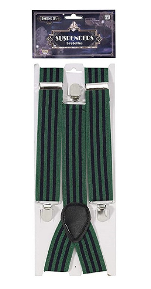 Roaring 20's Blue & Green Striped Suspenders Adult Mens Costume Accessory
