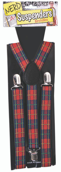 Men's Red Plaid Adult Suspenders Nerdy Christmas Unisex Costume Accessory