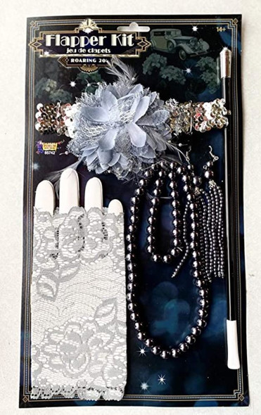 5pc Roaring 20's Flapper Kit Headband Gloves Cigarette Holder & Jewelry