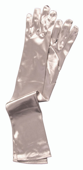 Long Satin Silver Adult Gloves Theatrical Opera Halloween Costume Accessory