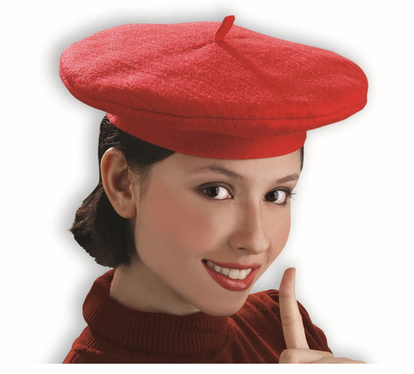 Beatnik Scene Trendy Knit Red French Beret Hat Costume Accessory Adult Women
