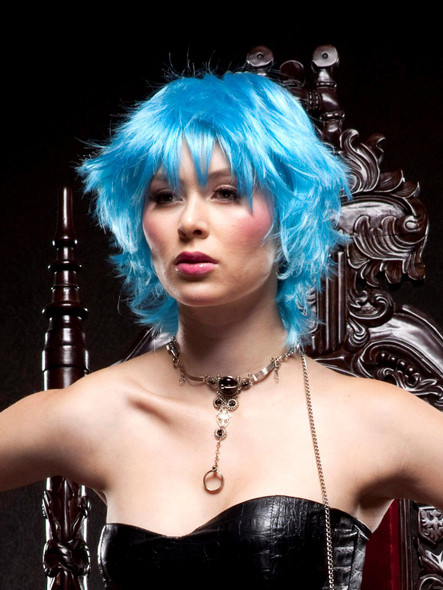 Deluxe Blush Jinx Cool Blue Wig Fantasy Style Short Adult Costume Choppy Shaggy