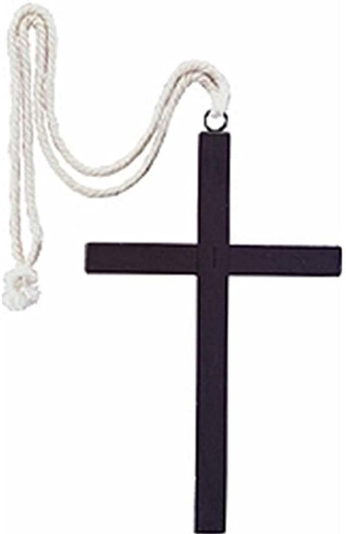 Black Wooden Priest Monk Cross Necklace Men's Adult Costume Accessory