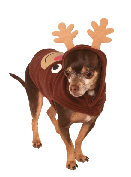 Rubie's Pet Shop Christmas Brown Reindeer Hoodie Dog Costume Shirt SM-XXL