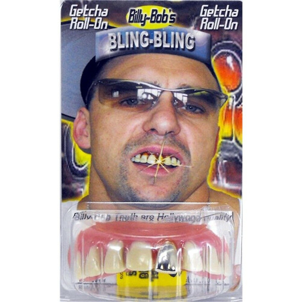 Billy-Bob Front Gold Tooth Bling Hollywood Quality Grillz Fake Teeth Custom Fit
