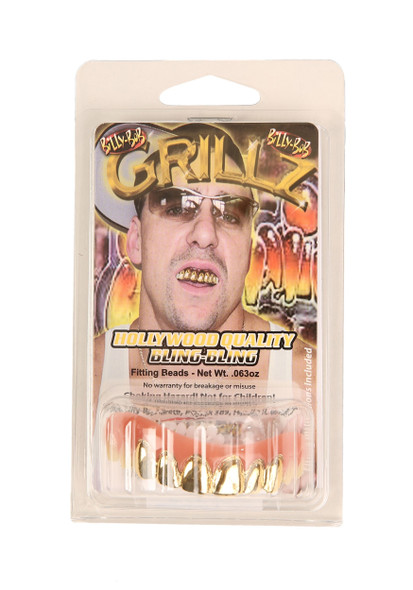 Billy-Bob Gold Grillz Hollywood Quality Pimp Hip Hop Bling Fake Teeth Custom Fit