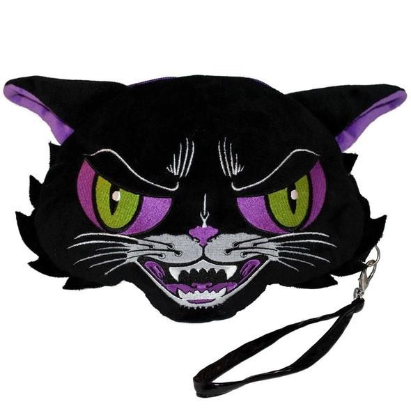 Kreepsville Kattitude Cat Wristlet Plush Purse Everyday Halloween Horror Fashion