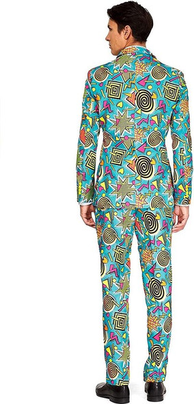 Suitmeister 1990s Retro Blue Business Suit & Tie Adult Costume Prom MD-XXL