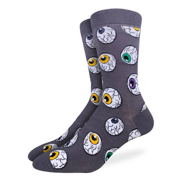 Good Luck Socks Eyeballs Mens Crew Socks Halloween Theme Adult Size 7-12