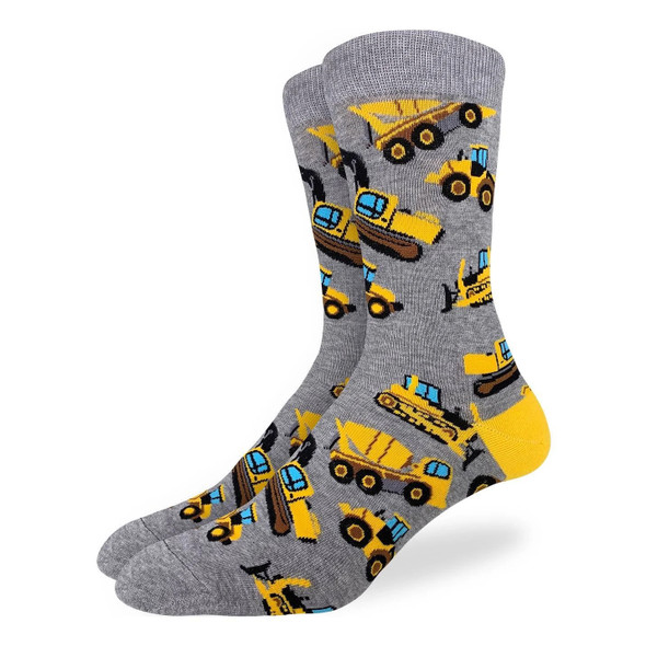 Good Luck Sock Construction Equipment Crew Socks Adult Mens King Shoe Size 13-17