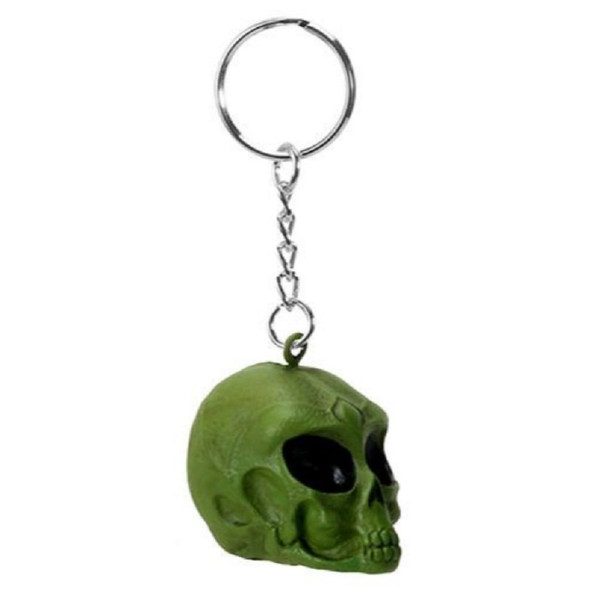 Pacific Giftware Green Alien Skull Head Keychain Key Chain Area 51 Style
