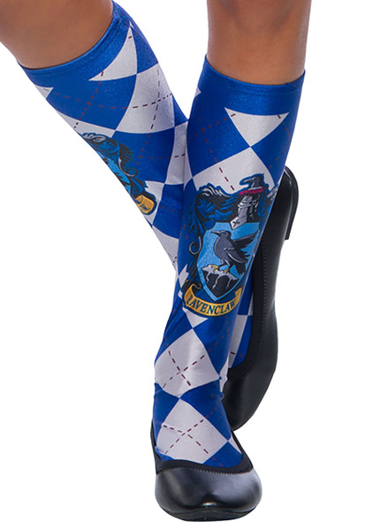 Harry Potter Hogwarts House Ravenclaw Blue Argyle Knee High Socks Women's