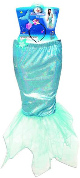 Mermaid Fantasy Dress Up Kit Blue Tail Skirt Headband Girls Costume Accessory