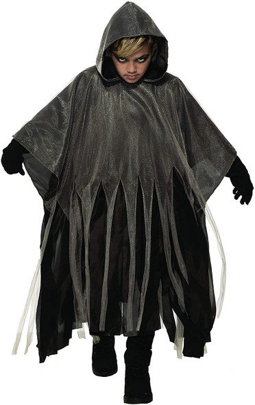 Grey Ghoul Tattered Hooded Poncho Childs Halloween Costume Accessory One Size