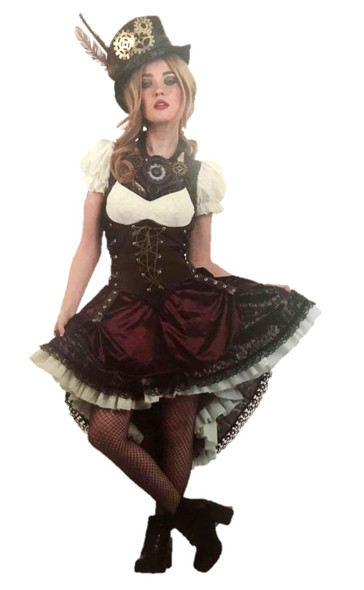Deluxe Victorian Steampunk Girl Costume Women's Fancy Dress Halloween SM-LG