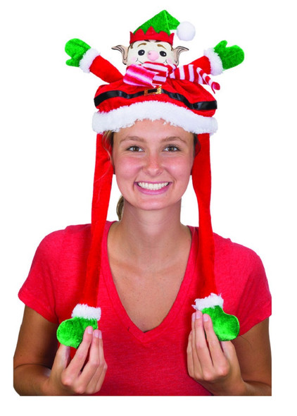 Christmas Squeeze-Ums Waving Elf Headband Flapping Moving Arms Headpiece