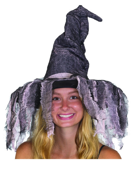 Distressed Witch Halloween Costume Hat w Tattered Veil Pink n' Black Adult