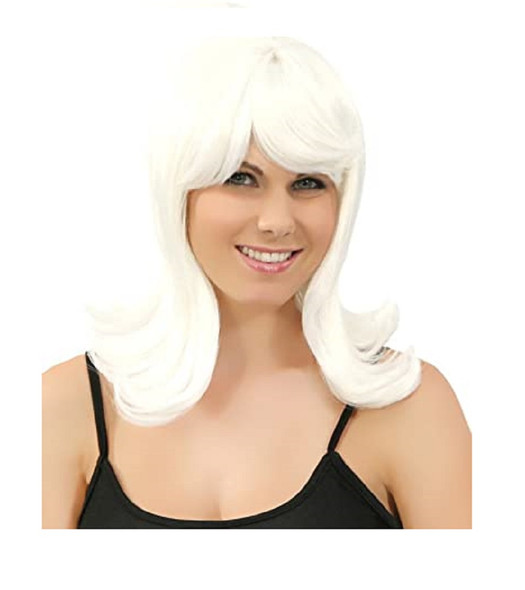 Peggy Sue White Pageboy Wig 50s 60s Long Bob Womens Ladies Costume Accessory