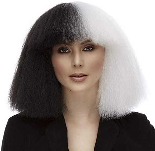 Quality Westbay Black & White Frizzy Pop Muse Wig Cosplay Adult Costume Acces