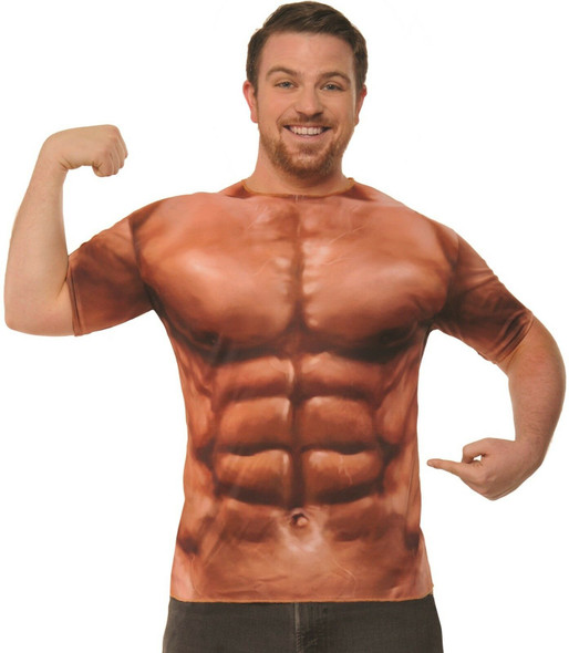 Adult Muscle Shirt Costume Accessory Body Building Sexy 6 Pack One Size
