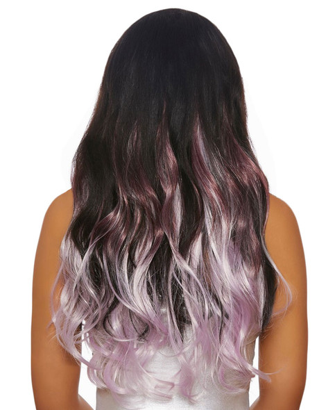 """Dreamgirl 24"""" Long Wavy Layered Clip In Hair Extensions Burgundy/Lavender"""