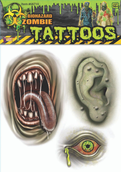 Biohazard Mutant Zombie Temporary Tattoos Body Part Adult Costume Accessory