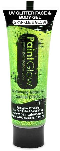 Paint Glow Mint Green UV Glitter Face & Body Gel Festival Rave Wear 13ml Tube