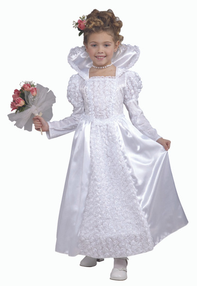 Princess Bride Gown Fancy Dress White Wedding Gown Hoop Girl Child Costume S-L
