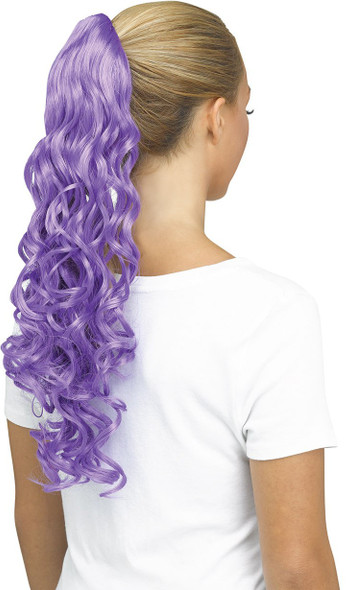 Fun World Unicorn Curly Purple Pigtail Costume Wig Pig Tail Ponytail Curls