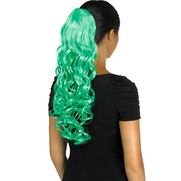 Fun World Unicorn Curly Green Pigtail Costume Wig Pig Tail Ponytail Curls