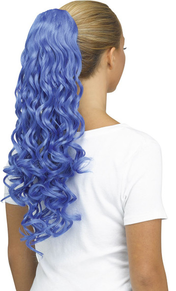 Fun World Unicorn Curly Blue Pigtail Costume Wig Pig Tail Ponytail Curls